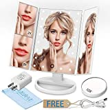 GIWOX Makeup Mirror,Lighted Make Up Mirror Trifold 180°Rotatable Vanity Mirror with Led Lights,2X / 3X / 10X Magnifying Mirror,Battery and USB Power Supply