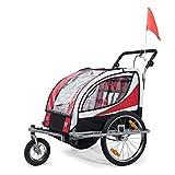 SAMAX Remolque de Bicicleta para Niños 360° girable Kit de Footing Transportín Silla Cochecito Carro Suspensíon Infantil Carro en Rojo - Silver Frame
