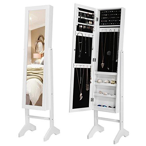 SONGMICS Schmuckschrank und Standspiegel zwei in einem, Lederimitat, weiß, 35,5 x 153 x 35 cm
