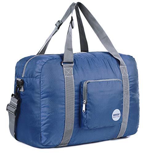 18' Foldable Duffle Bag 30L for Travel Gym Sports Lightweight Luggage Duffel By WANDF, Navy Blue