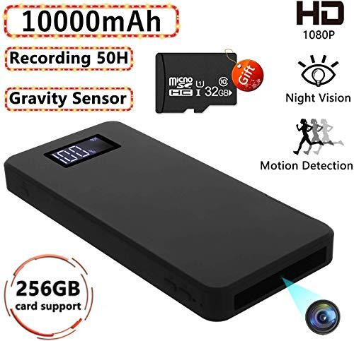 1080P Tragbare Kleine Überwachungskameras 10000mAh Powerbank Kamera mit Nachtsicht Bewegungserkennung Nanny-Videokamera Schwerkraftsensor Loop-Aufnahme (32 GB integriert)