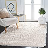 Safavieh Paris Shag Collection SG511-1212 Handmade Silken Glam 2.5-inch Thick Area Rug, 7' Square, Ivory
