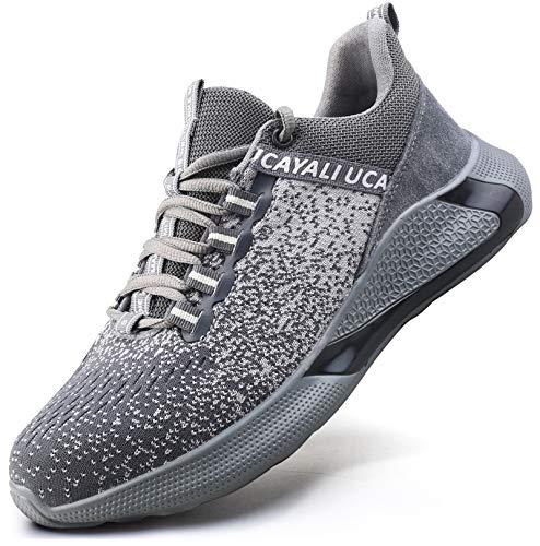 UCAYALI Zapatos de Seguridad Hombre Anti-Piercing Zapatos de Trabajo Punta de Acero Antideslizante Calzado Seguridad Deportivo Gris Gr.43