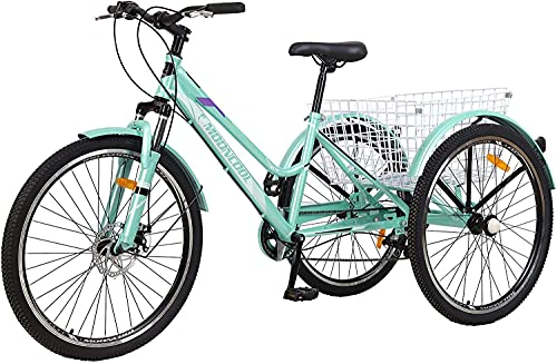 Adult Tricycle, 7 Speed Three Wheel Bikes Adult Tricycles for Women Men, 24/26 Inch Adults Trikes Cruiser Trike Bike with Large Basket (Green, 26'' Tire/7-speed)