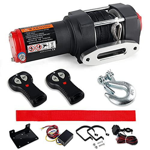 3000 LBS Load Capacity Electric Winch Kit, 12V Synthetic Rope Winch, Waterproof Electric Winch Recovery kit with Handheld Wireless Remote Control for ATV UTV Off-Road Trailer Ship Traction Winch