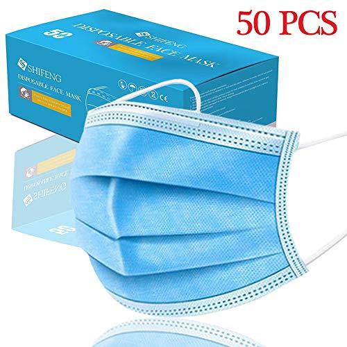 Máscara desechable, 50 piezas de 3 capas de filtro de polvo desechable, protección de la cubierta no tejida, pendientes elásticos, máscara de seguridad, tamaño universal
