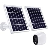 2 Pieces Solar Panel Compatible with Arlo HD with 12 Feet/ 3.6 m Cable, Adjustable Mount and Micro USB Connector, Charging with Arlo HD No More Batteries