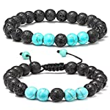 M MOOHAM Lava Rock Bracelet - 8mm Lava Rock Bead Blue Turquoise Anxiety Bracelet, Men Women Stress Relief Yoga Beads Aromatherapy Essential Oil Diffuser Healing Bracelets