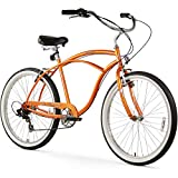 Firmstrong Urban Man Beach Cruiser Bike, Mens Bicycle 26-Inch, 7-Speed, Orange