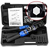 IBOSAD Hydraulic Cable Lug Crimper Tool 12 AWG to 00 (2/0) Electrical Terminal Wire Crimping Plier Kit, Marked with AWG