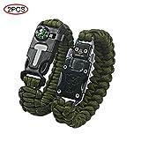Ovtai Paracord Bracelet, 5 en 1 Kits de Survie d'urgence, avec Fire Starter, Boussole, Sifflet,Urgence Couteau Parfait pour la randonnée Camping