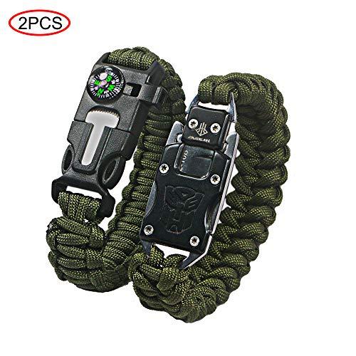 Ovtai Paracord Bracelet, 5 en 1 Kits de Survie d'urgence, avec Fire...