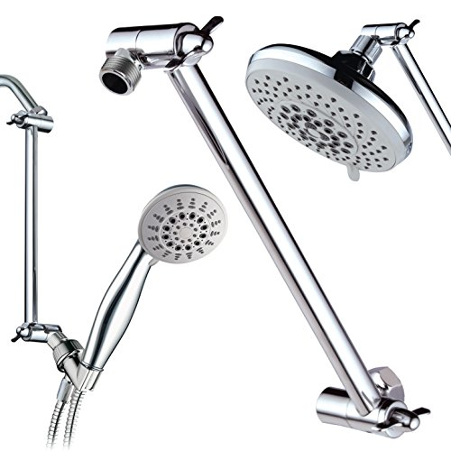 Hotel Spa 11' Solid Brass Adjustable Shower Extension Arm with Lock Joints. Lower or Raise Any Rain or Handheld Showerhead to Your Height & Angle / 2-Foot Range/Universal Connection, Chrome Finish
