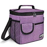 Large Insulated Lunch Bag for Women Men, 10L Leakproof Thermal Reusable Lunch Box for Adult & Kids, Tall Meal Prep Lunch Cooler Tote with 4 Pockets for Office Work by Tirrinia, Purple