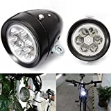 Star-Art Vintage Retro Bicycle Bike Front Light Lamp 7 LED Fixie Headlight with Bracket, Easy to Install for Kids Men Women Road Cycling Mountain Bike Safety Flashlight (Black)