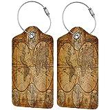 Juego de etiquetas de cuero para maletas de lujo con mapa del mundo antiguo