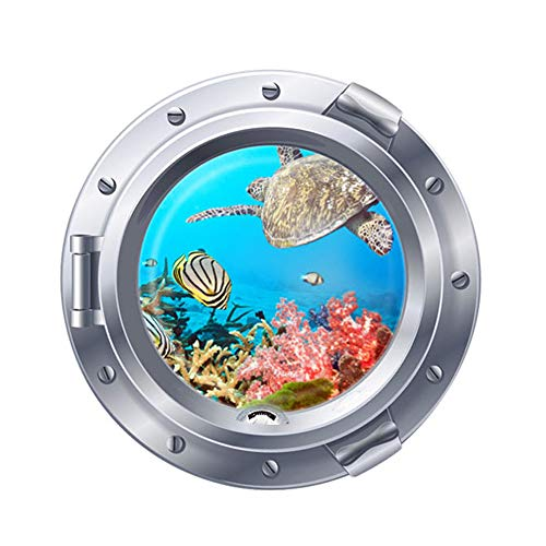 DNVEN 18 inches x 18 inches Porthole Under the Sea Ocean Tropical Fishes Sea Turtles Window View Faux Submarine Murals Wall Decals Stickers Removable for Bedrooms Kids Room Nursery