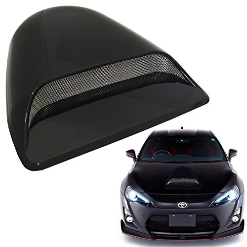 Mega Racer Universal JDM Style Black Flow Hood Body Kit Decorative Hood Scoop Universal Hood Scoop Car Hood Scoop Hood Scoops Universal Racing Air Flow Intake Car Hood Vent Scoop Accessories