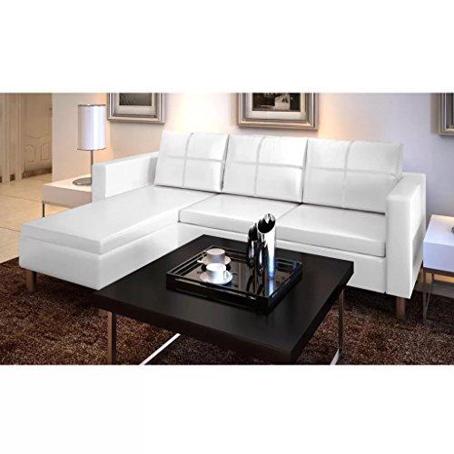 Vislone Divano Angolare 3 Posti Pelle, Divano Angolare Moderno Bianca, 188x122x77 cm