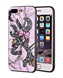 iPhone 7 Plus Case,iPhone 8 Plus Case,Browning Camo Deer Hunter with Pink Bow Design Slim Anti-Scratch Leather Grain Rubber Protective Case for Apple iPhone 7 Plus/iPhone 8 Plus 5.5 inch