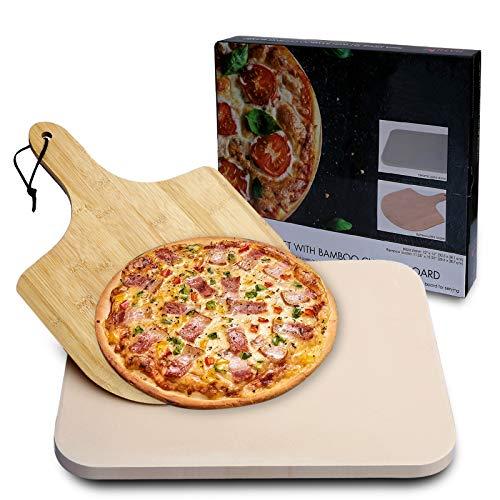 MAYUTU Pietra Refrattaria per Pizza da Forno incl. Pala in Bambu, Pizza Stone in Cordierite per Cuocere Pizza/Pani, Piastra Pizza per Forno e Barbecu