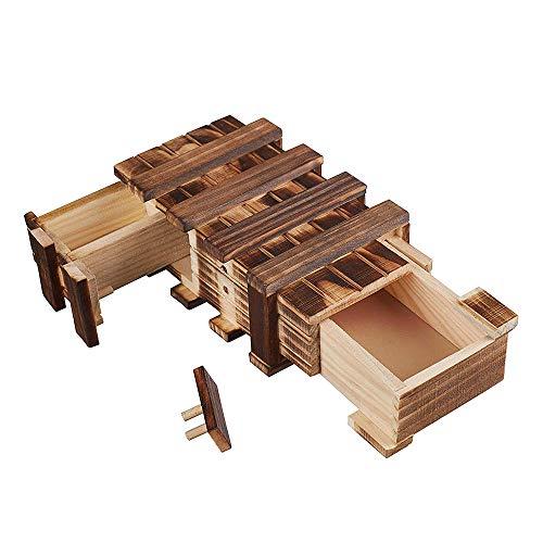 Amasawa Holzgeschenkbox,Magic Box mit 2 Fächern Zum Kreativen Verschenken Von Gutscheinen, Schmuck...