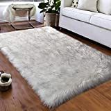 Softlife Faux Fur Sheepskin Area Rugs Shaggy Wool Carpet for Girls Room Bedroom Living Room Home Decor Rug (4ft x 6ft, White-Grey Tip)