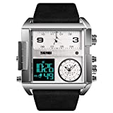 SKMEI Men's Digital Sports Watch, LED Square Large Face Analog Quartz Wrist Watch with Multi-Time Zone Waterproof Stopwatch (Silver Black)