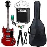 McGrey Rockit guitare électrique double encoche set complet Cherry Red