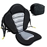 AQUARM Kayak Seat with Anti Skid Pad, Canoe Seat with Detachable Back Storage Bag, Adjustable Portable Breathable Sit-On-Top Seat Cushion Pad for Kayaking, Fishing, Boat Rafting