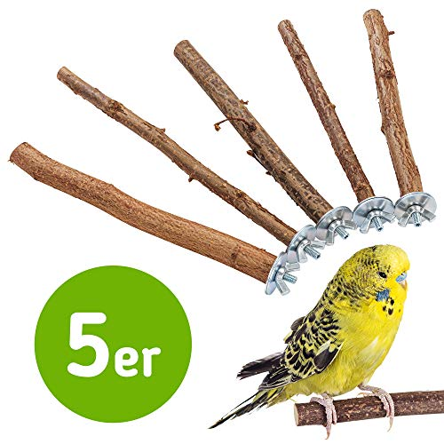 5 herrliche Natur Sitzstangen für Vögel wie Wellensittich, Nymphensittich, Kanarienvogel, Agaporniden   Naturholzstangen für den Vogel als wichtiges Vogelzubehör im Vogelkäfig   Zubehör