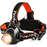 Techole Headlamp Flashlight, 2000 Lumen Zoomable and Rechargeable LED Head Lamp Up to 500ft Light Beam with 3 Modes Adjustable Strap, Bright Waterproof Headlight Headlamps for Camping, Hiking, Running