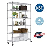 6 Tier Wire Shelving Unit with wheels Metal Shelf organizer Heavy Duty Storage Unit Wire Rack NSF Certification Commercial Grade Utility for Bathroom Office 2100LBS Capacity-18x48x82 Chrome
