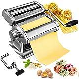 Machine à Pâtes Fraiche Soldow Pasta Maker Manuelles en Acier Inoxydable Machine à Nouilles des 9 Réglages d'Épaisseur et 2 Lames, Laminoir à Pâte pour Tagliatelle Spaghettis Lasagnes Ravioles