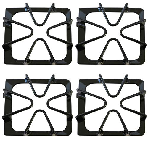 KITCHEN BASICS 101 Replacement Oven Stove Range Burner Grates Compatible with Whirlpool Stoves 8522858, WP8522858 8053456, WP8053456, WPW10447925, 4 Pack, Gloss Black.