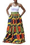 Zonsaoja Mujer Faldas Largas Elegantes Africa Flores Impresa Fiesta Tallas Grandes Blue L