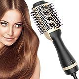 Hot Air Brush, Bvser Hair Dryer Brush One Step Hair Dryer and Styler Volumizer 3 in 1 Air Hair Brush with Negative Ion Curling Dryer Brush Styler, Hair Straightening Brush, Rotating Blow Dryer Brush