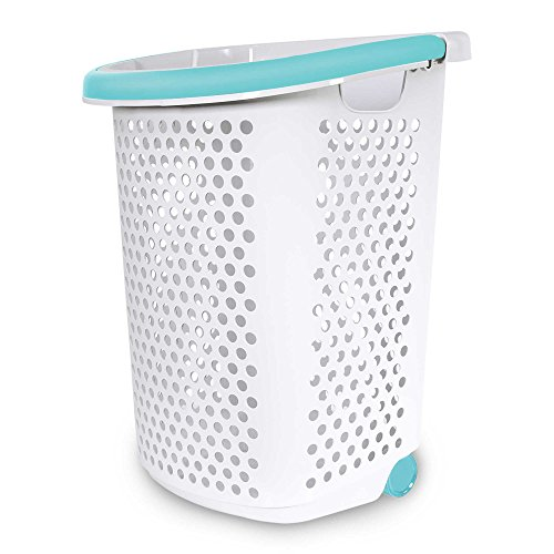 Home Logic 2.0-Bu. Rolling Laundry Hamper Container Bin Storage in White Features Pop-Up Handle, Hole Pattern for Ventilation, Built-in Wheels to Maneuver (1, 2.0-Bu.)
