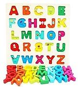 Toys of Wood Oxford Holz Spielzeug Alphabet für Kleinkinder- Spielbrett mit großen Buchstaben und englischen Vokabeln - Holzpuzzle - Lernspielzeug für Kleinkinder - Montessori Spielzeug