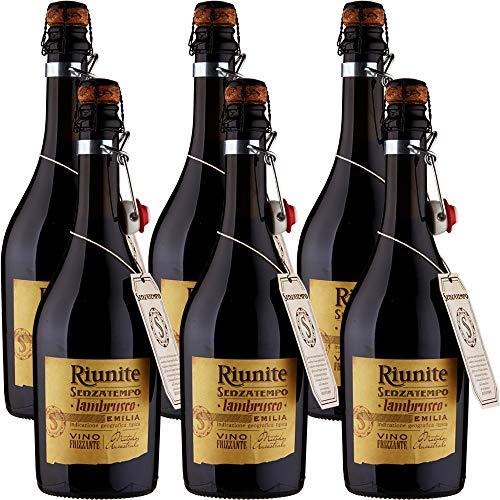 Lambrusco Emilia IGT   Riunite Senzatempo   Vino Rosso Frizzante   Fiaschetto con Tappo in Sughero   6 Bottiglie 75cl   Idea Regalo