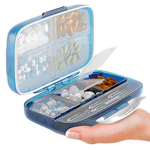 Moisture Proof Pill Sorter Travel Pill Organizer Pill Box Waterproof Large Pill Dispenser Home Supplement Holder Portable Vitamin Jumbo Size 8 Compartment Airtight Pill Container Daily Medicine