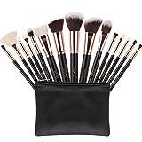 Eono by Amazon - Brochas de Maquillaje 15 Unids Pelos de Cabra Sintéticos Premium Base Pincel Mezcla Polvo Facial Rubor Corrector Cosméticos de Ojos Maquillaje Kits con Estuche