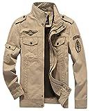 Classique Broderie Homme Printemps Automne Coton Militaire Veste Voler Bomber Blousons Outdoor Manteaux Multi-Poche Mens Cotton Lightweight Jacket (FR 2X-Large, Style2- Kaki)