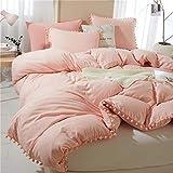 Pom Pom Duvet Cover Queen Size - 3 Piece Boho Bohemian Farmhouse Microfiber Comforter Cover Set - Soft and Lightweight Quilt Cover, Solid Coral Pink Pompom