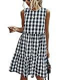 PRETTYGARDEN Women's Casual Plaid Sleeveless Ruffle Sundress Round Neck A-Line Pleated Mini Short...
