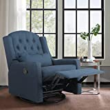 ALPHA HOME Recliner Chair Living Room Chair Ergonomic Glider Chair Rocking Swivel Reclining Sofa for Elderly Back Pain Linen Fabric Lounge Adjustable Club Home Theater Seat with 4 Positions,-Navy Blue