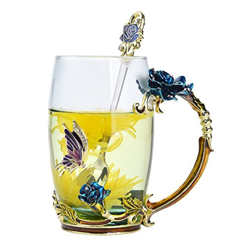 NBHUZEHUA Glass Coffee Cup Tea Mug Friend Birthday Presents 2020 Valentines day Gifts for Him Her Mom Grandma Women Girls