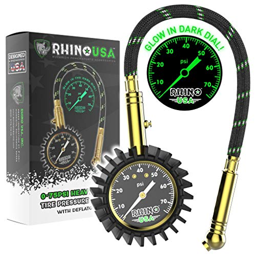 """Rhino USA Heavy Duty Tire Pressure Gauge - Certified ANSI B40.1 Accurate, Large 2"""" Easy Read Glow Dial, Solid Brass Hardware, Best Any Car, Truck, Motorcycle, RV (75psi w/Hose)"""