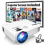Proyector DR.Q con Pantalla de Proyección, 5000 Lúmenes Proyector de Video Soporta Full HD 1080P,...