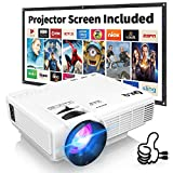 Projecteur HI-04 DR.Q Mini Projecteur 3800 Lumens Supporte 1080P FHD, Videoprojecteur Compatible avec HDMI VGA AV USB TF, Home Théâtre Projecteur, Blanc.